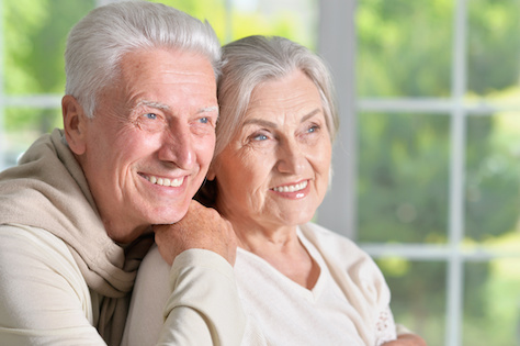 senior couple in nursing home facility care