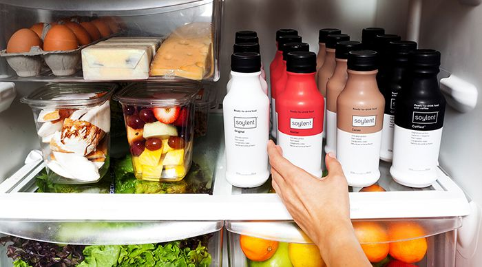 Soylent Meal Replacement Drink in fridge