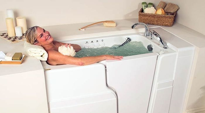 Woman enjoying walk-in tub