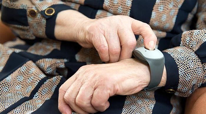 elderly wearing lifeline bracelet