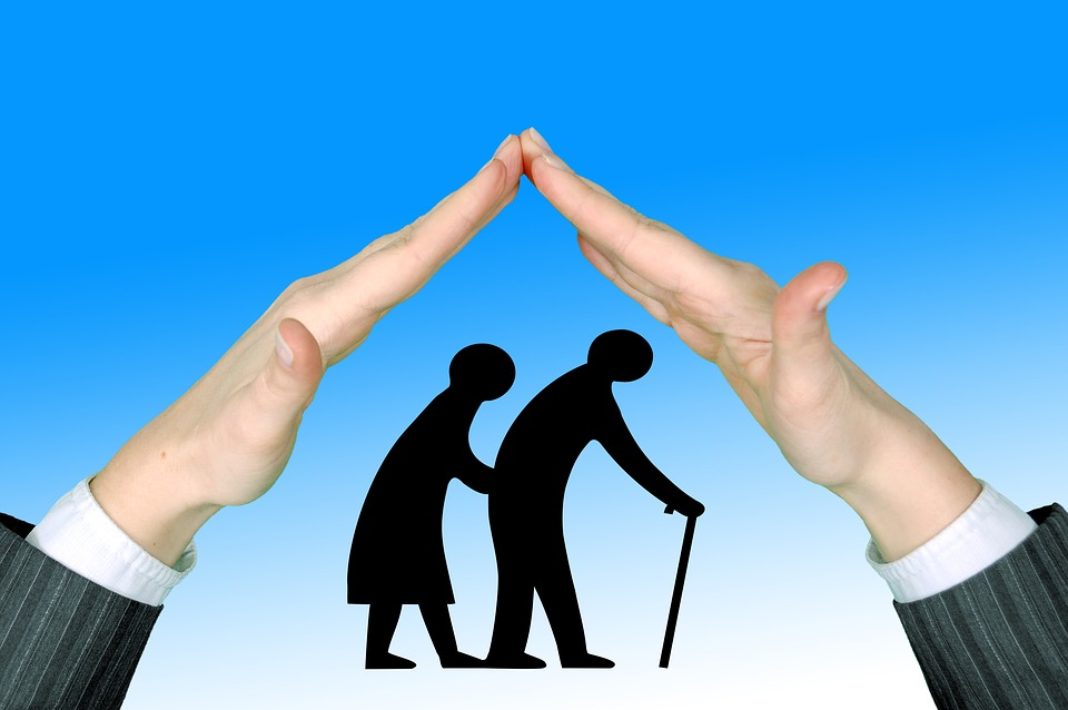 illustration of hands sheltering an elderly