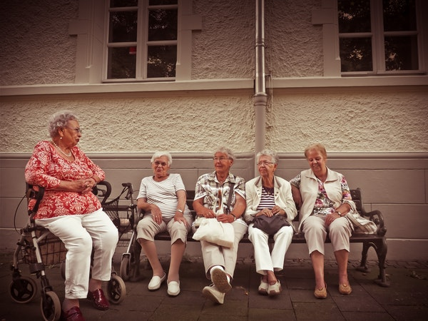 elderly women talking